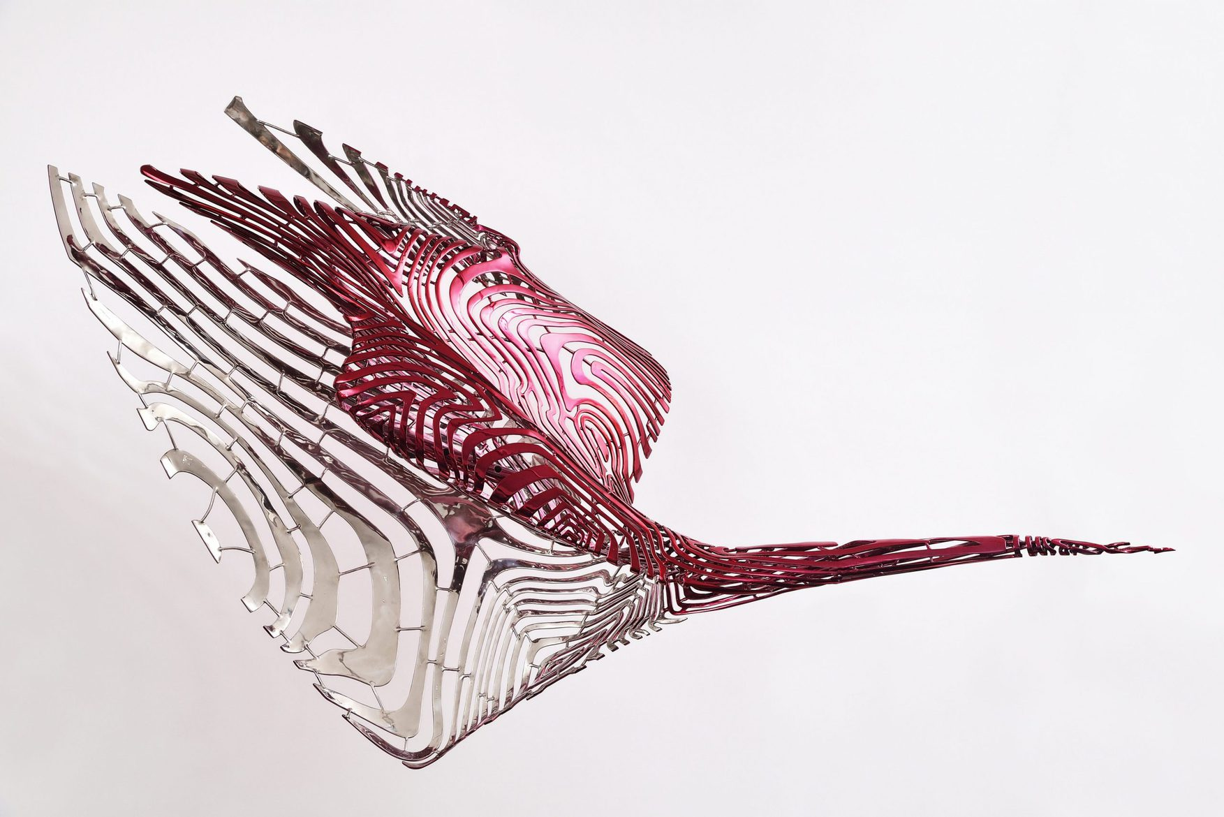 'Come to the Edge 2', 2012, stainless steel, red fluoropolymer, 96 x 161 x 49 cm, edition 1 of 5 + 1AP