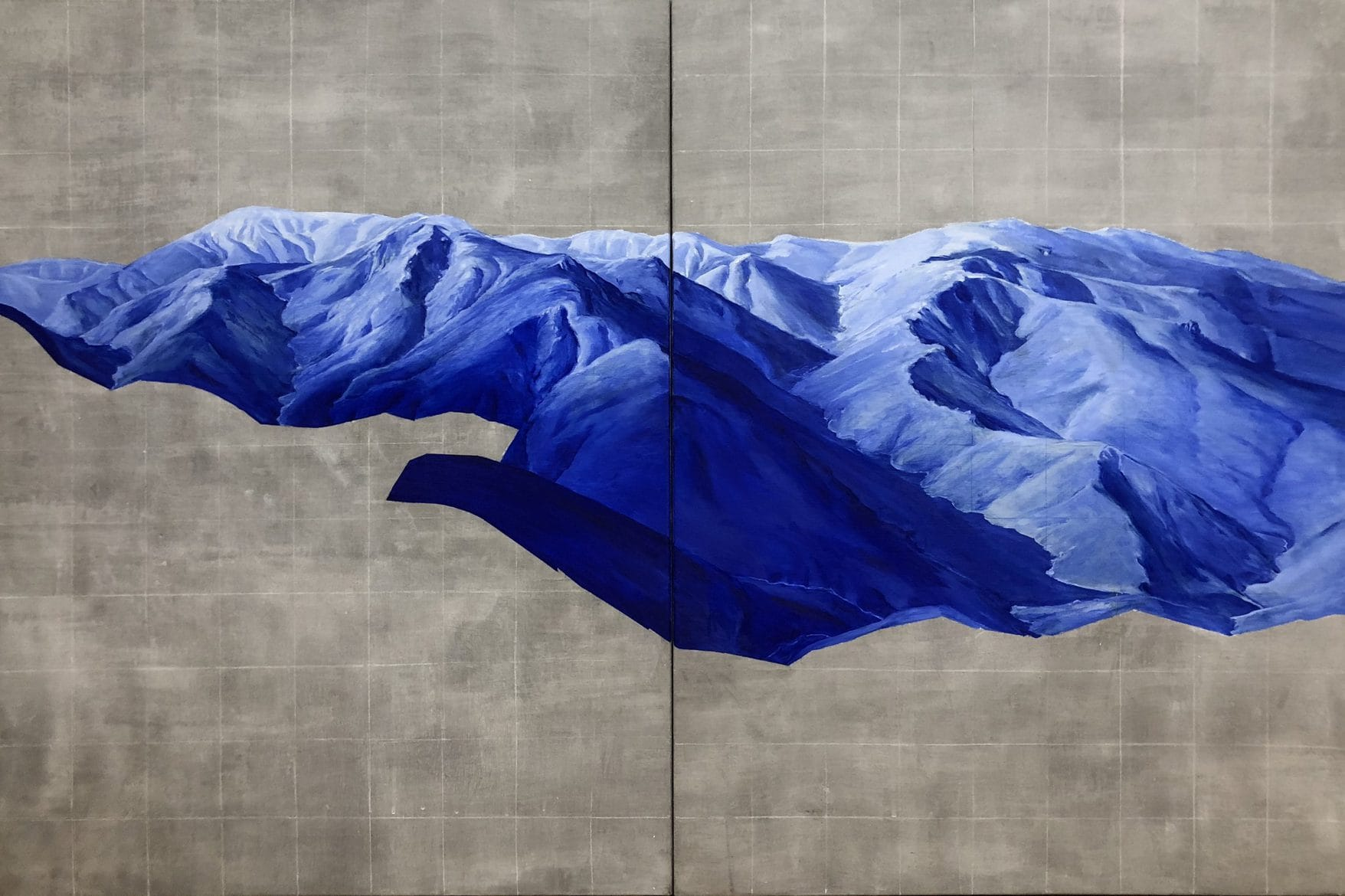 'Siren song creek (Cadaver IV)', 2019, oil and wax on linen, diptych, overall 180 x 120cm