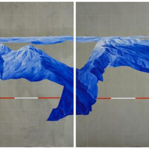 Piers Greville, 'Weizmann Experiment (You are Here), 2019, oil and concrete on board, diptych, 120 x 180 cm overall
