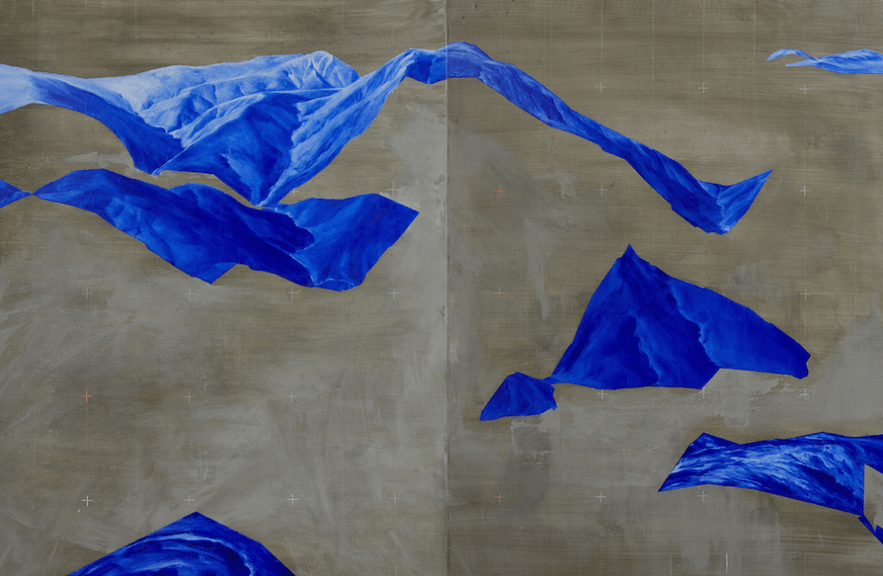Piers Greville, 'The Siren Song', 2019, oil and concrete pigmented acrylic on linen, diptych, 180 x 120 cm overall,