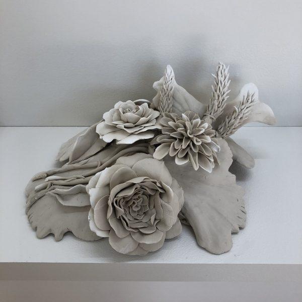 'Ruin #2', ephemeral, unfired porcelain and stoneware, 15 x 32 x 25 cm