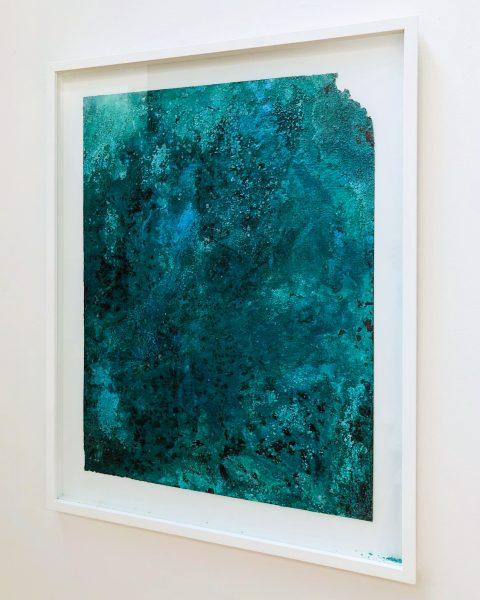 Kirtika Kain, 'ravines II', 2018, silkscreened bitumen on oxidised copper, 60 x 45 cm