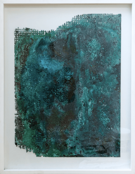 Kirtika Kain, 'ravines I', 2018, natural copper oxidation, beeswax and silkscreened bitumen on etched copper, 60 x 45 cm