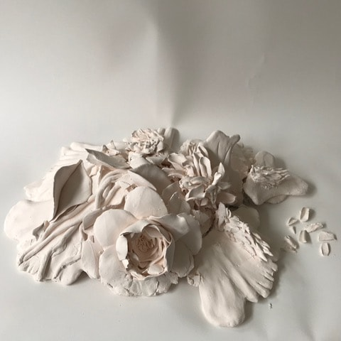 'Ruin #3', Bisque fired porcelain and stoneware, 8 x 32 x 25 cm