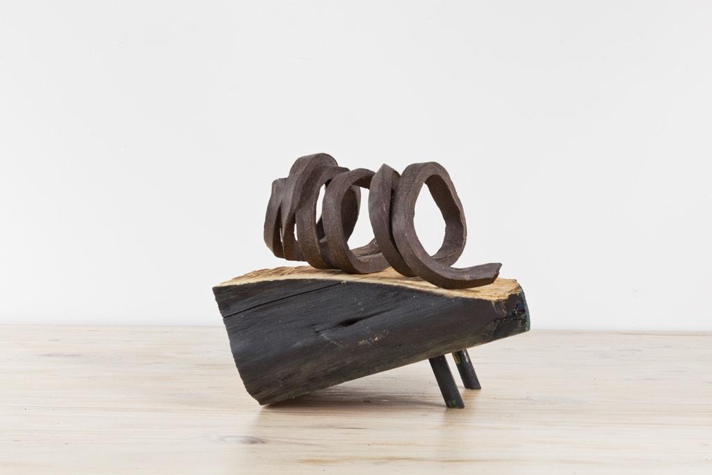 Claudia Terstappen, 'Spiral/brown matt', 2018, glazed ceramic, ca. 25 x 25 x 11 cm, including wooden plinth that measures ca. 29 x 24 x 10 cm