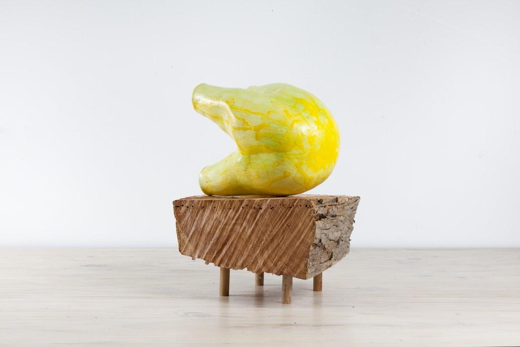 Claudia Terstappen, 'Yellow Beast', 2018, glazed ceramic, ca. 24 x 16 x 18 cm, including wooden plinth that measures ca. 24 x 25 x 16 cm