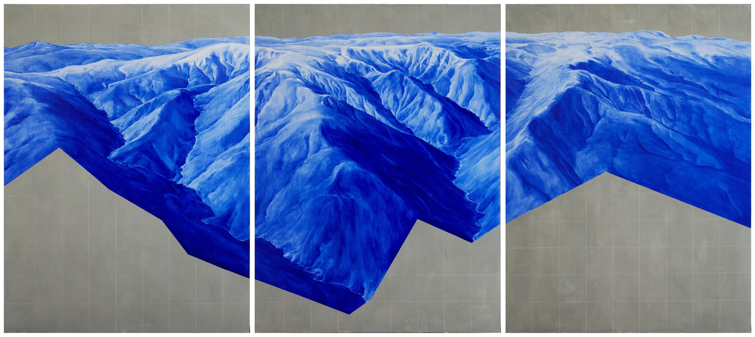 Piers Greville, 'Locality Rails, Observer Effect', 2019, oil concrete and acrylic on board, triptych, 270 x 120 cm overall