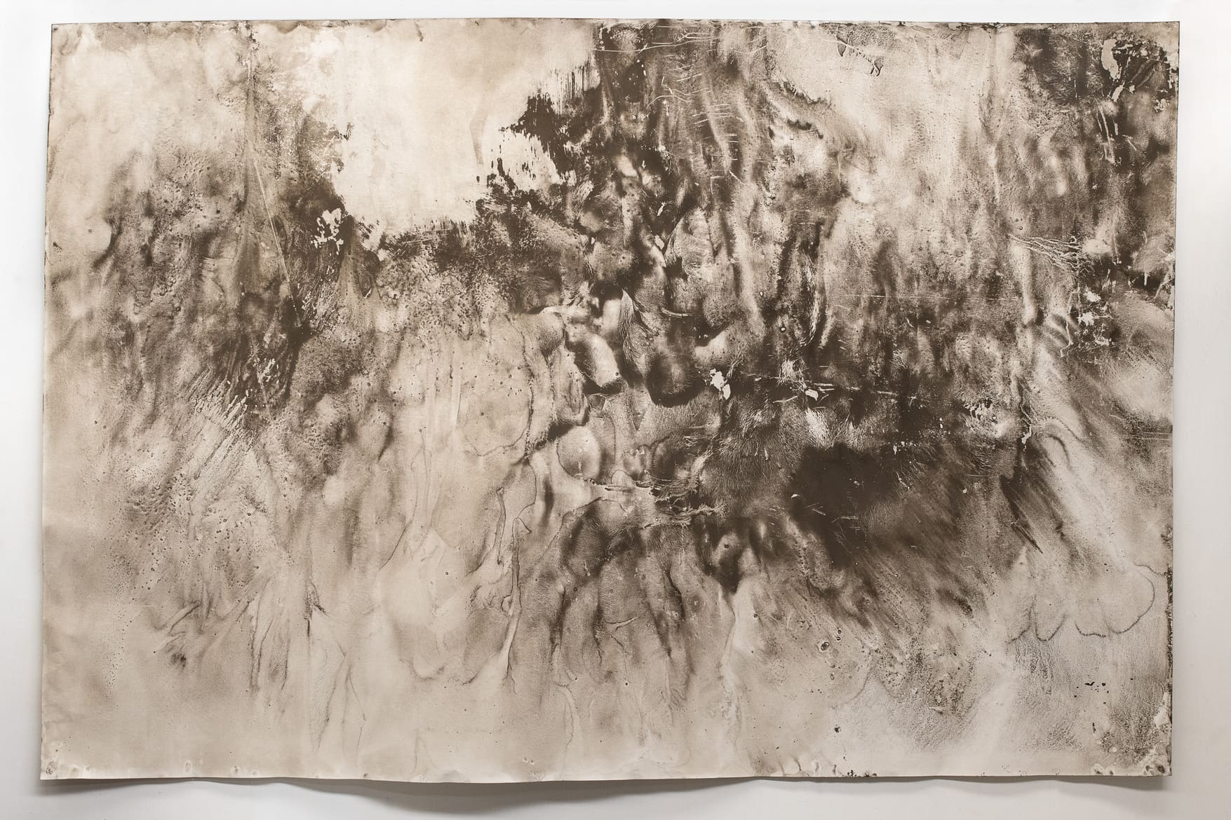 Julia Davis and Lisa Jones, Thresholds: a chorus #03/05/19, 2019, Tunnel residue on Heritage rag 320gsm paper 240 x 160 cm. The Copyright Agency's Cultural Fund and supported by Sydney Trains and  GREYSPACE.