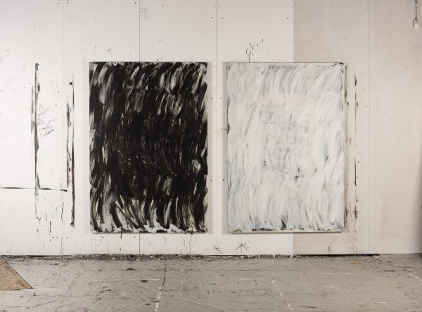 Lottie Consalvo, 'The Deepest Sea, Black' (left) and 'The Deepest Sea, White' (right), 2019, acrylic on canvas, 188 x 138 cm each.