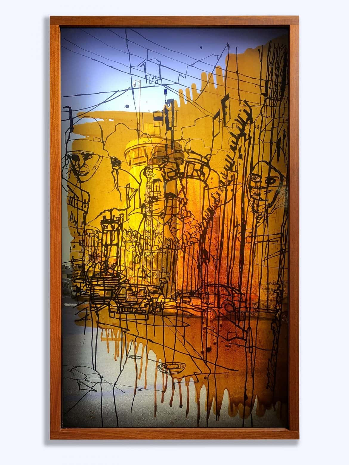 'Bethlehem', 2020, mixed media on translucent film with face-mounted photographic image on acrylic in framed light box,140 x 80 x 11 cm (straight)