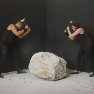 'Dialogue', 2020, performance with limestone, HD video with sound, 06:55 hours, edition of 3 + 2AP, $6,000 Performers: Emma Fielden and Tarik Ahlip. Videographer: Dara Gill. Commissioned by Parramatta Artists' Studios Rydalmere for NEXT.