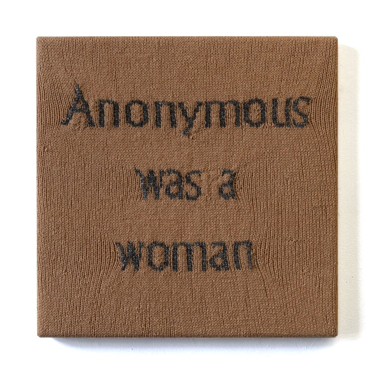 'Anonymous Was A Woman' (1), June 10, 2019 - June 10, 2020, hand knitted yarn, canvas, timber, 16 x 16 inches