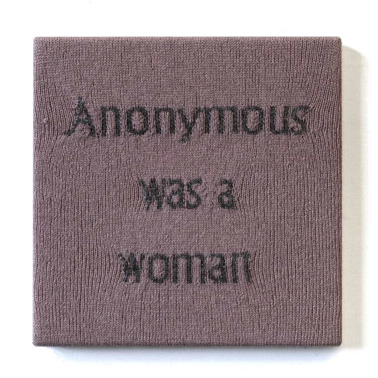 Kate Just, 'Anonymous Was A Woman' (2), June 10, 2019 - June 10, 2020, hand knitted yarn, canvas, timber, 16 x 16 inches