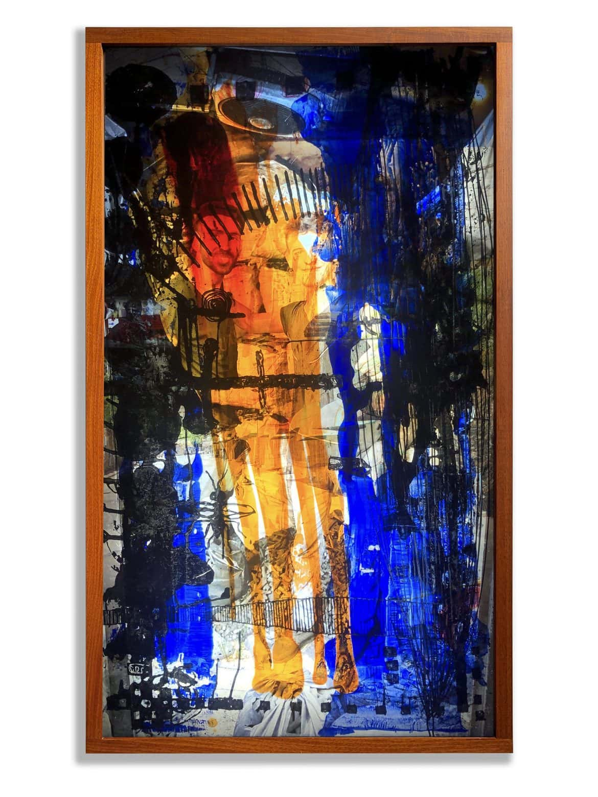 'Corona Jihad', 2020, mixed media on translucent film with face-mounted photographic image on acrylic in framed light box,140 x 80 x 11 cm