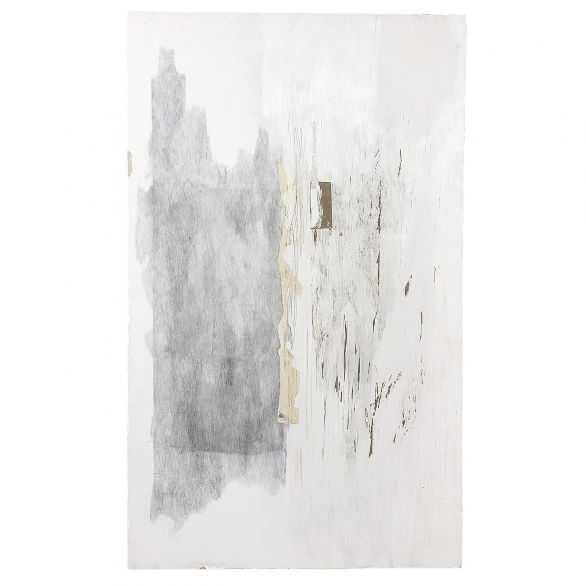 'Studio Wall', 2019, Plasterboard extracted from studio wall, graphite pencil, 204 x 123 cm