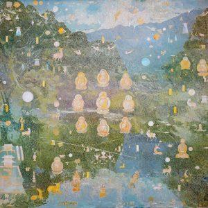 Tim Johnson, 'Sonsho Shrine Mandala', 2019, acrylic on linen, 152 x 183 cm
