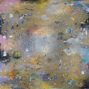 Tim Johnson, Arthur Rimbaud. 2019 106x106cm, acrylic on linen