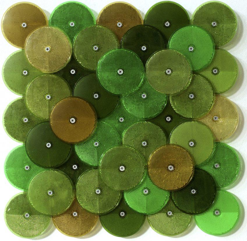 Dust (Green), customised corner reflectors, 42 x 42cm