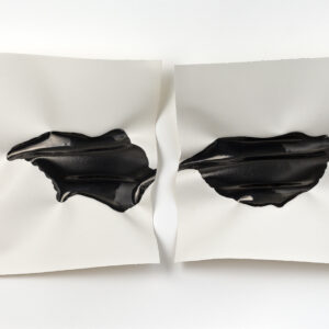 'Confluence I', 2020, diptych, ink on 300gsm Arches paper, deep white box frame, 74 x 45 cm
