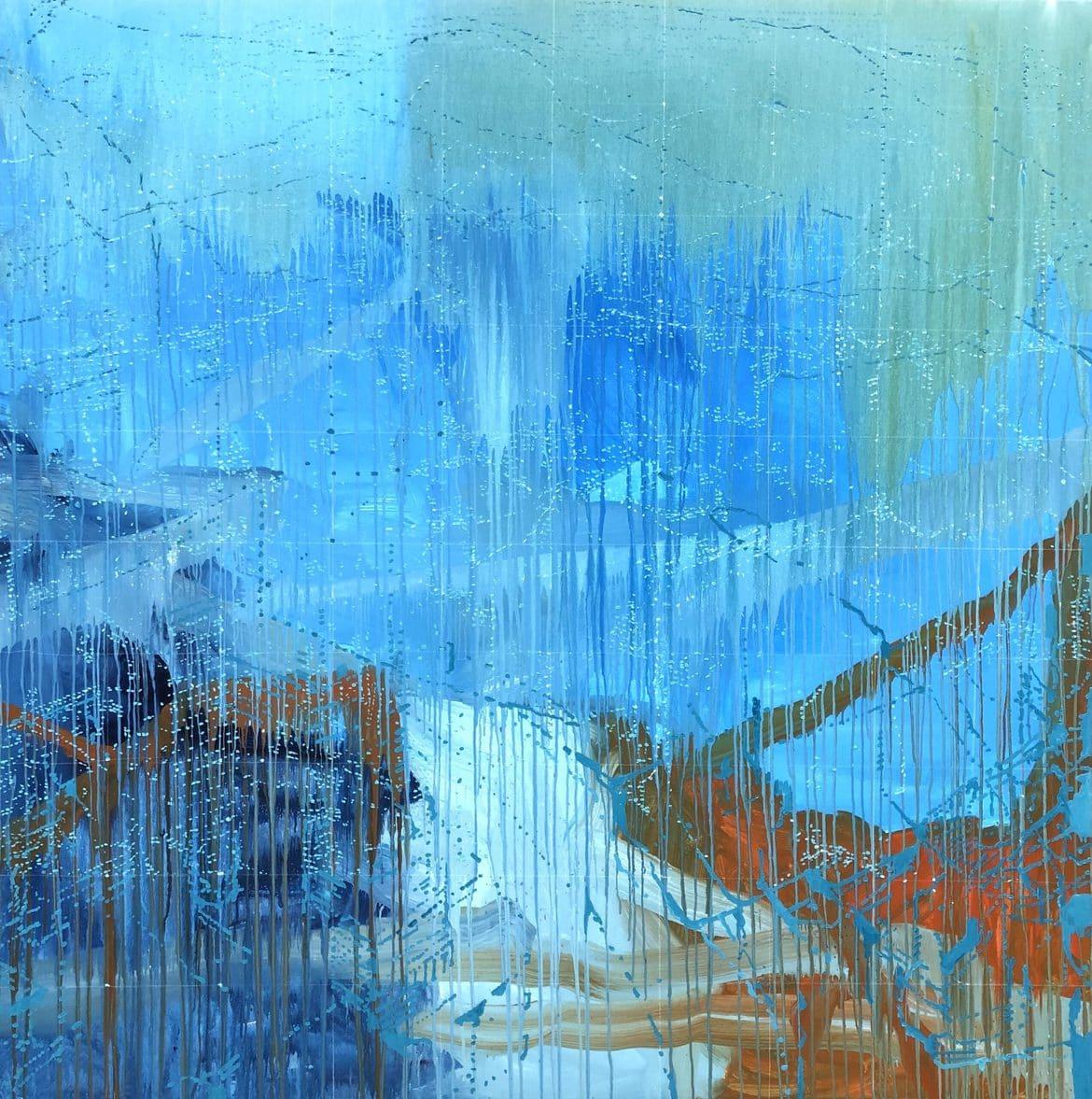 'Blue Rise (Hokusai Rain)', 2021, acrylic and oil on linen, 189 x 191 cm