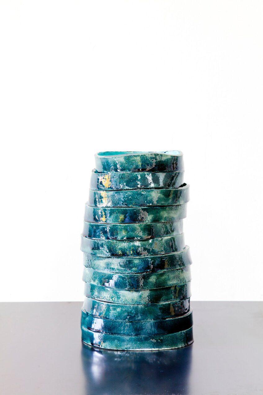 Claudia Terstappen, 'Small blue tower', 2019, glazed ceramic, 31 x 19 x 14 cm