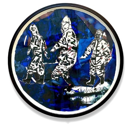 Locust Jones, 'Not so global anymore', 2020, collage of paintings on paper, framed, 100 x 100 cm