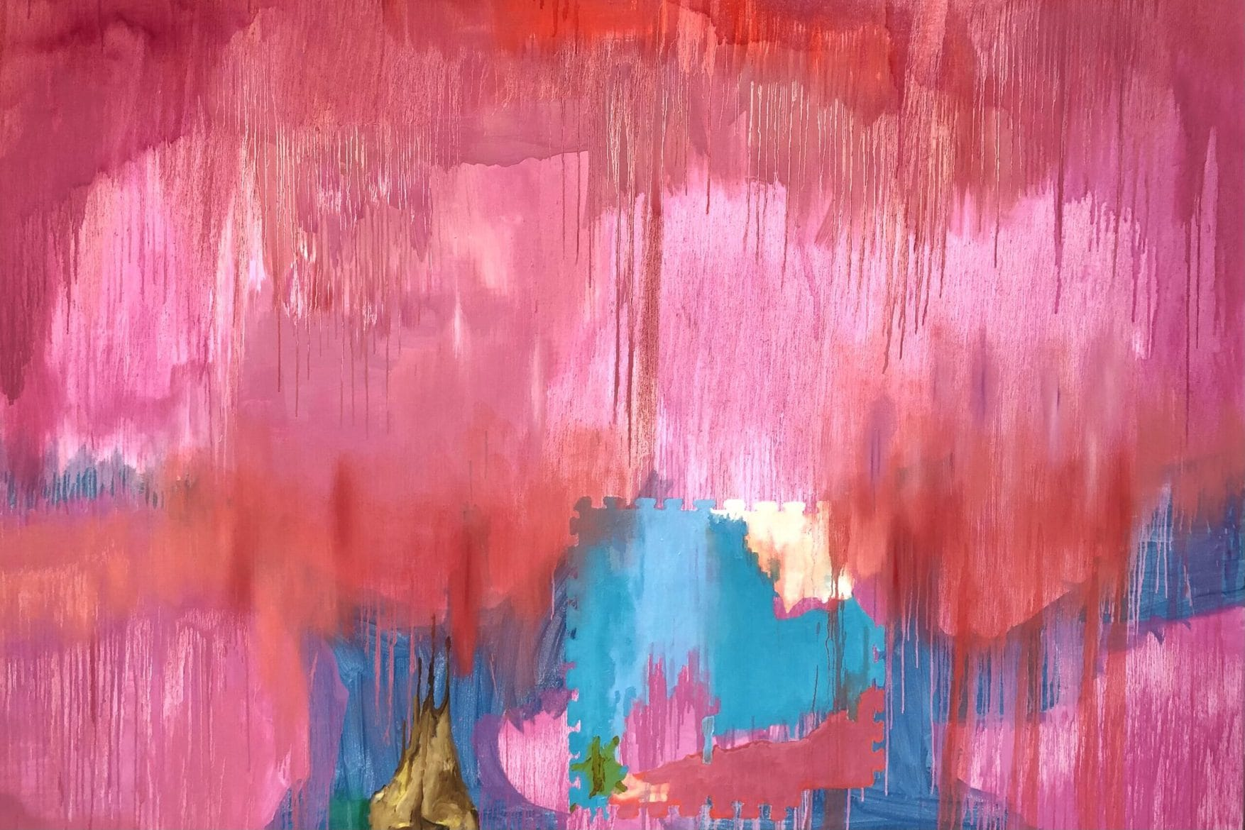 'Pink Variance 2 (Haze)', 2021, acrylic and oil on linen, 183 x 250 cm