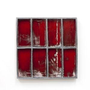 Claudia Terstappen, 'Grey-red', 2019, glazed ceramic, 40 x 40 x 5 cm
