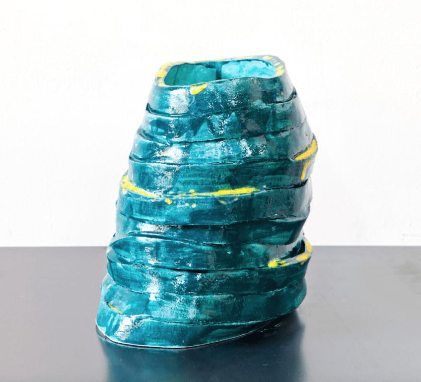 Claudia Terstappen, 'Petrol tower', 2019, glazed ceramic, 25 x 33 x 13 cm